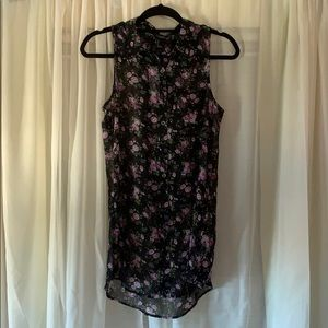 Sheer black floral collared sleeveless top